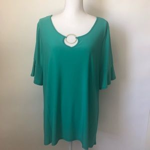 Notations NEW green blouse womens 1X